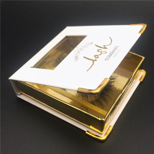 real 3d false mink lashes wholesale private label glitter rose golden empty square eyelash boxes custom eyelash packaging