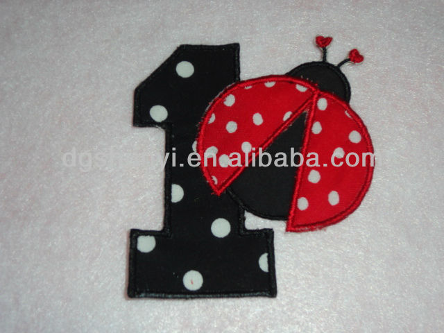 Birthday Number One Red LadyBug Appliqued Iron On Patch/Iron on embroidered numbers