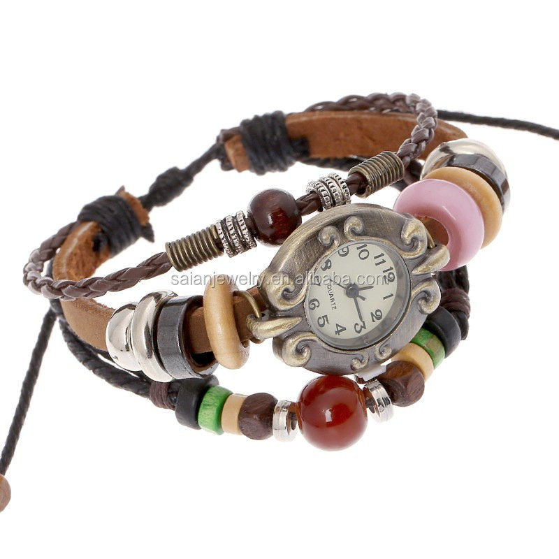 2016 Weave Wrap Synthetic Leather Bracelet Women's Wrist Watch alloy&wood charms personalized
