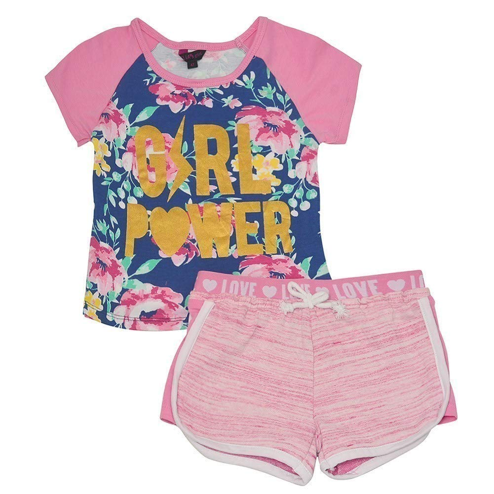 Little Girls Red Floral Print Off-Shoulder Top 2 Pc Shorts Outfit 2T-6X