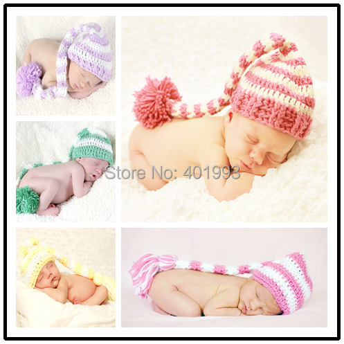 Get Quotations · New Crochet Elf Hats long stocking cap Christmas hats baby  girl Boy hat baby beanie Baby a259970450c5