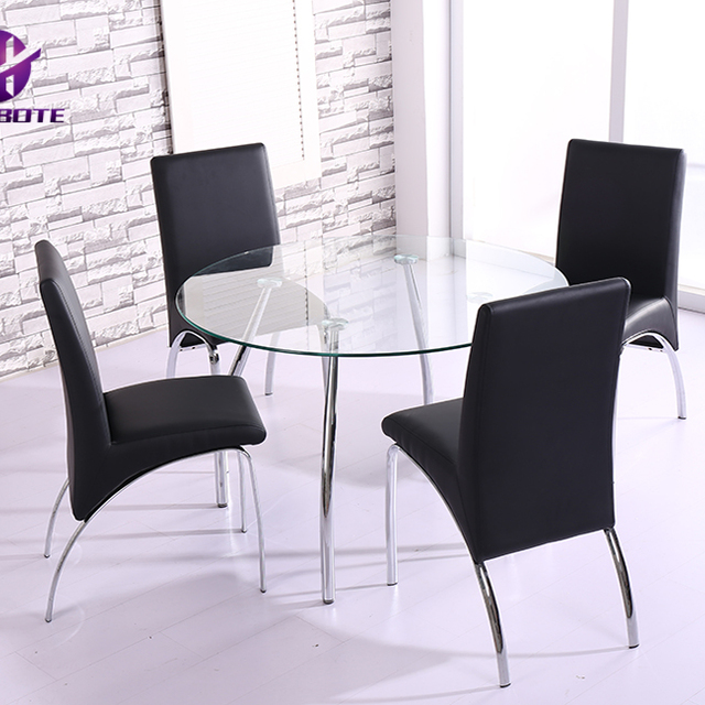 Modern Round Glass Dining Table And Chairs Set