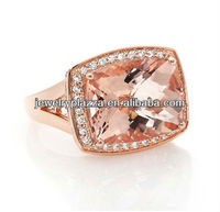 Unique 925 Sterling Silver Jewelry,14K Rose Gold Plated Morganite Diamond Ring
