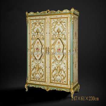 Vitage Vitoria Style Fl Painted Armoire Exquisite Wood Carved 2 Door Wardrobe Queen