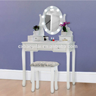 White makeup table with mirror and lights and Mirror Black Dressing Table