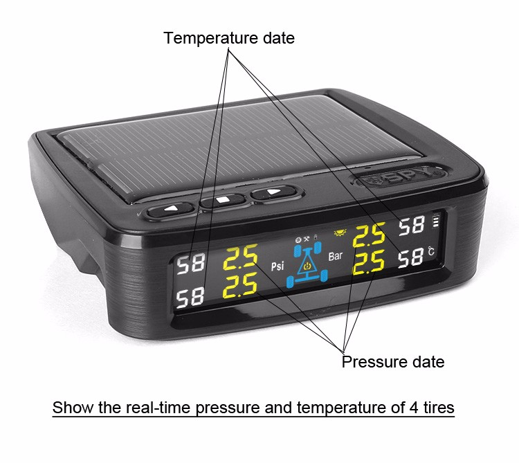SPY universal Digital Car Tire Gauge Solar Power Car TPMS Tire Pressure Monitor System