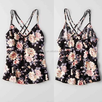 Women Sexy Tank Top Floral PRINTED Strappy Cross Back Design BUTTON CAMI