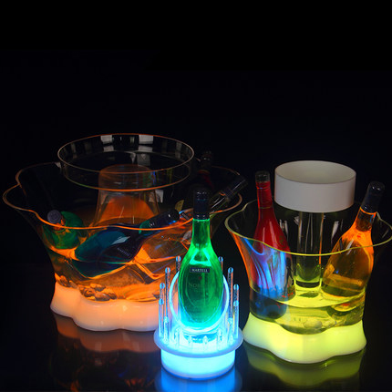 New design three layer colorful LED Remote Acrylic Ice Bucket