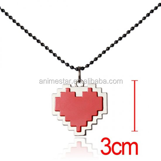 Undertale Red Heart Alloy Anime Necklace Wholesale Fashion Popular Necklace 3cm