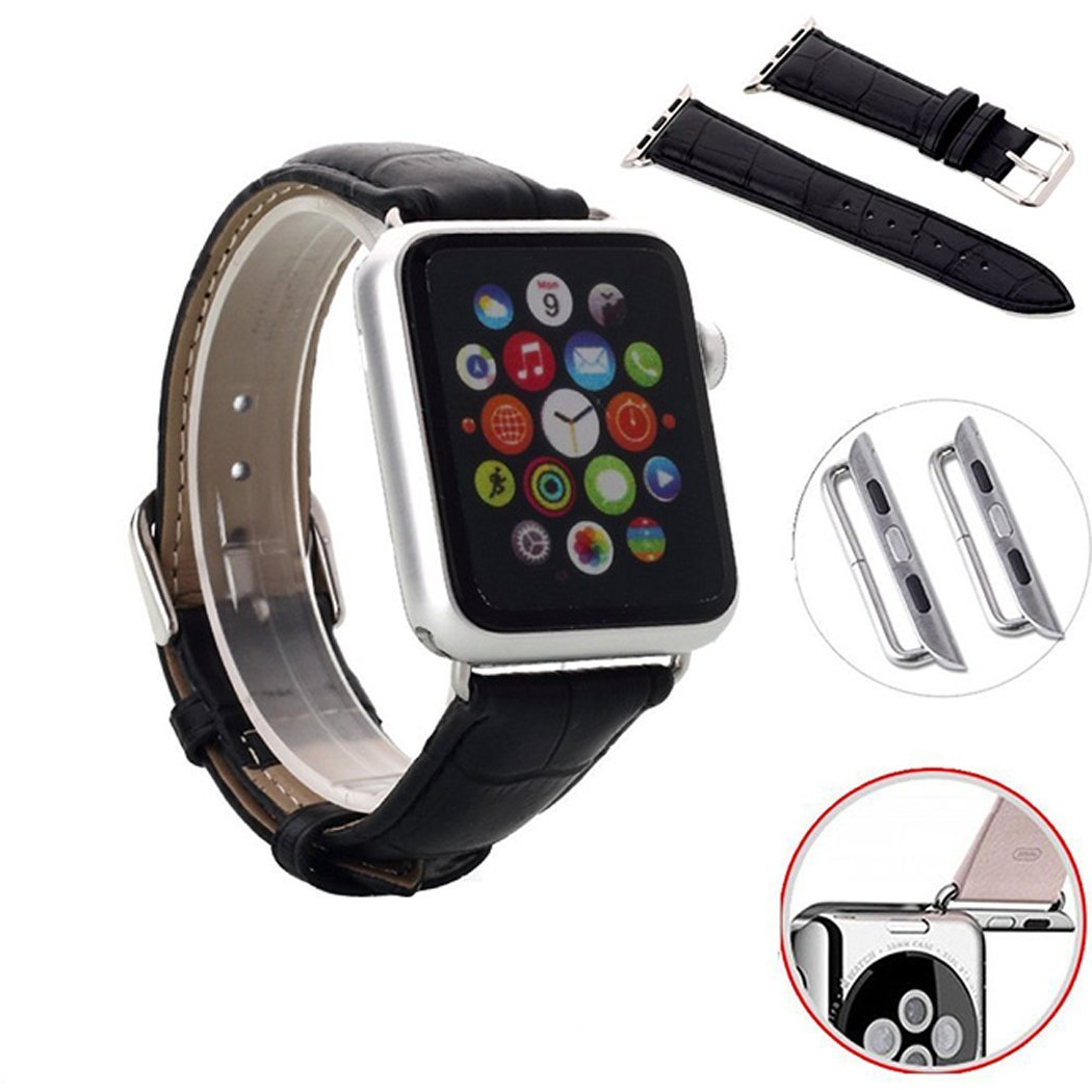 Dianoo Fashion Replacement Band 38mm Genuine Leather Crocodile Pattern Watch Strap Stainless Steel Buckle for Apple Watch (Leather - Black) (Apple Watch is not included, including a screwdriver)