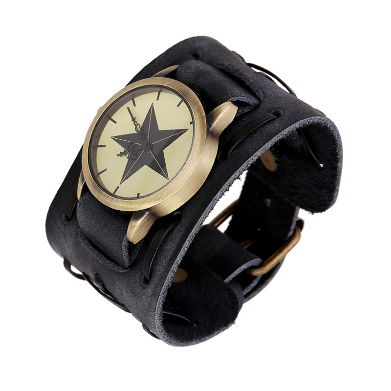 Mens Retro Punk Rock militar banda reloj de pulsera de cuero occidental relojes de pulsera