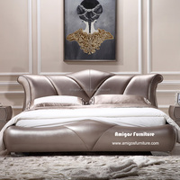 2015 new design genuine leather sleigh bed