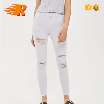 ba122c0baa4d Produce White High Waist Design Women Skinny Denim Super Ripped Jeans
