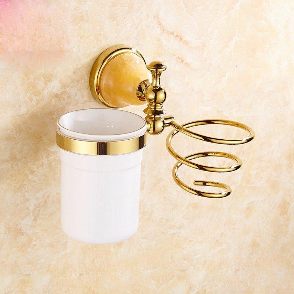 OLQMY-Bathroom Hair Dryer Rack, European Style Hairdryer Rack, Hair Dryer, All Copper Material, Golden Bath Base, Hairdryer Frame