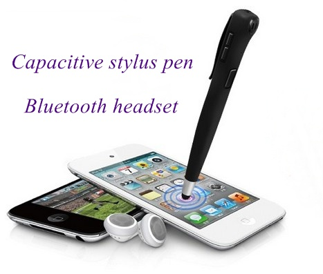Fashion Capacitive Stylus Pen with Stereo Bluetooth Headset for Phone iPad