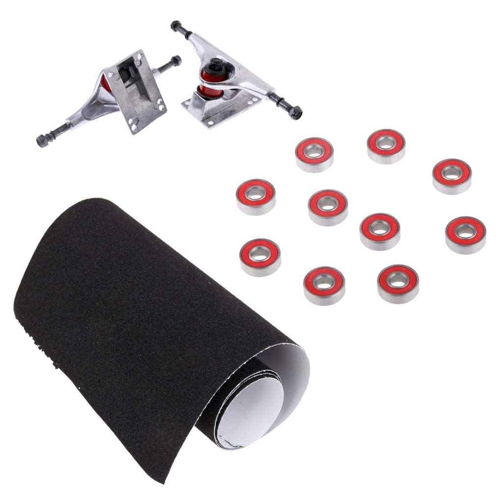 MonkeyJack 2 Pieces 5inch Aluminium Skateboard Trucks with 10 Pieces ABEC-7 Bearings and Black Skateboard Grip Tape