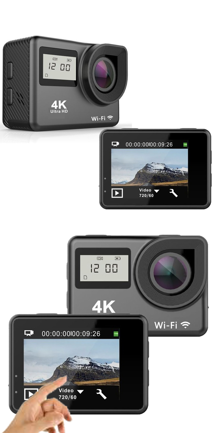 Dual screen 4K sport camera waterproof outdoor action camera with remote control