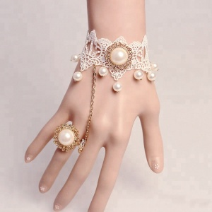 pearl finger arabic ring bracelet, skeleton ring bracelet