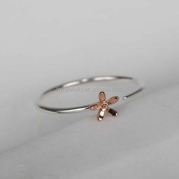 440d410e2368e Fashion Tiny Two Tone Style Ring Open Rose Gold Flower Charm Custom Design  Women Finger Ring - Buy Women Finger Ring,Women Finger Ring,Women Finger ...
