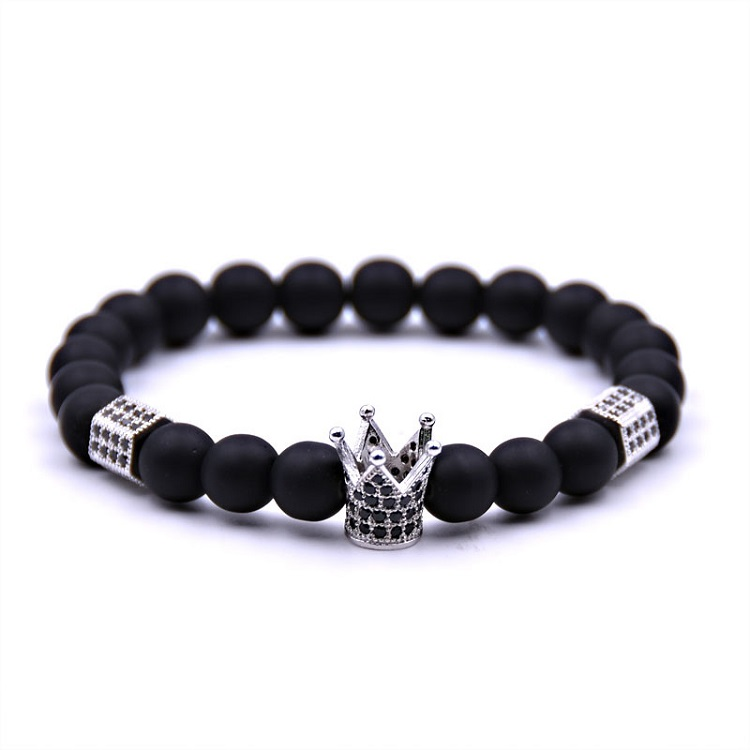 도매 China 8 미리메터 Black Natural 돌 석 Men Crown Bead Bracelet 대 한 Gifts