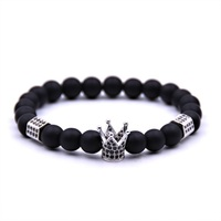 Wholesale China 8mm Black Natural Stones Rhinestone Men Crown Bead Bracelet For Gifts