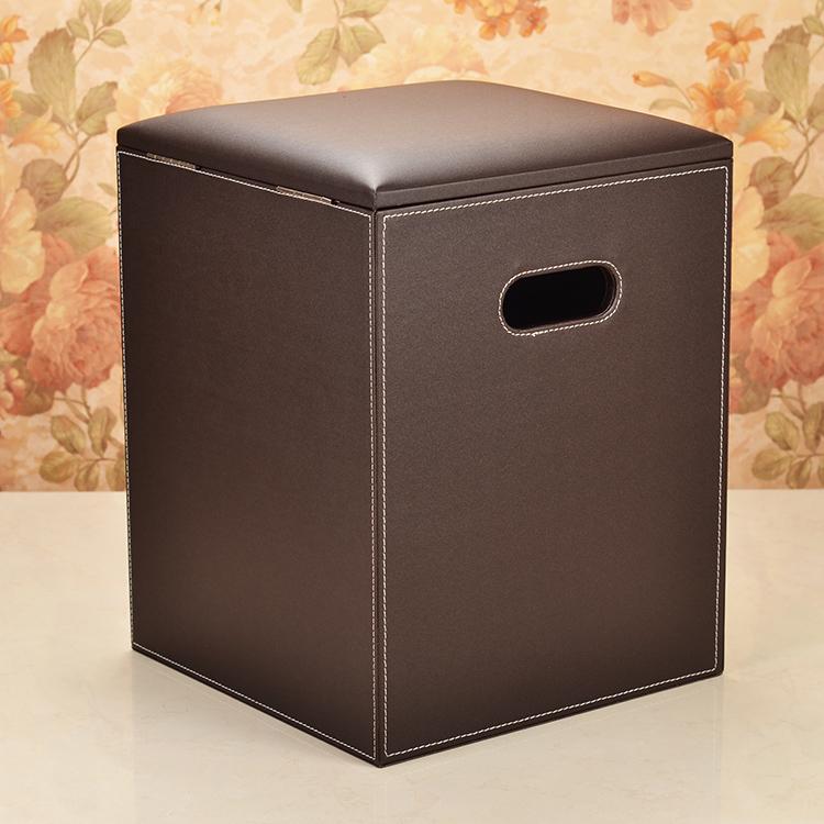 Cuero marrón decoración otomana de almacenamiento cuadrado Banco ...