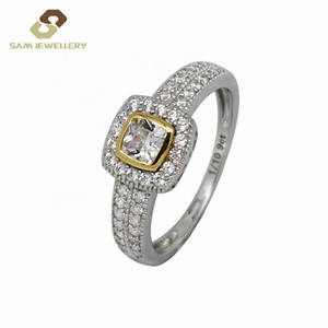 Setting Vintage Frame Bezel Princess Cut Zircon 9 K Gold With Sterling 925 Silver Bridal Diamond Wedding Band Ring Jewelry