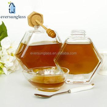Glass Honey Pot Hexagon Glass Honey Jar With Wooden Dipper Wedding