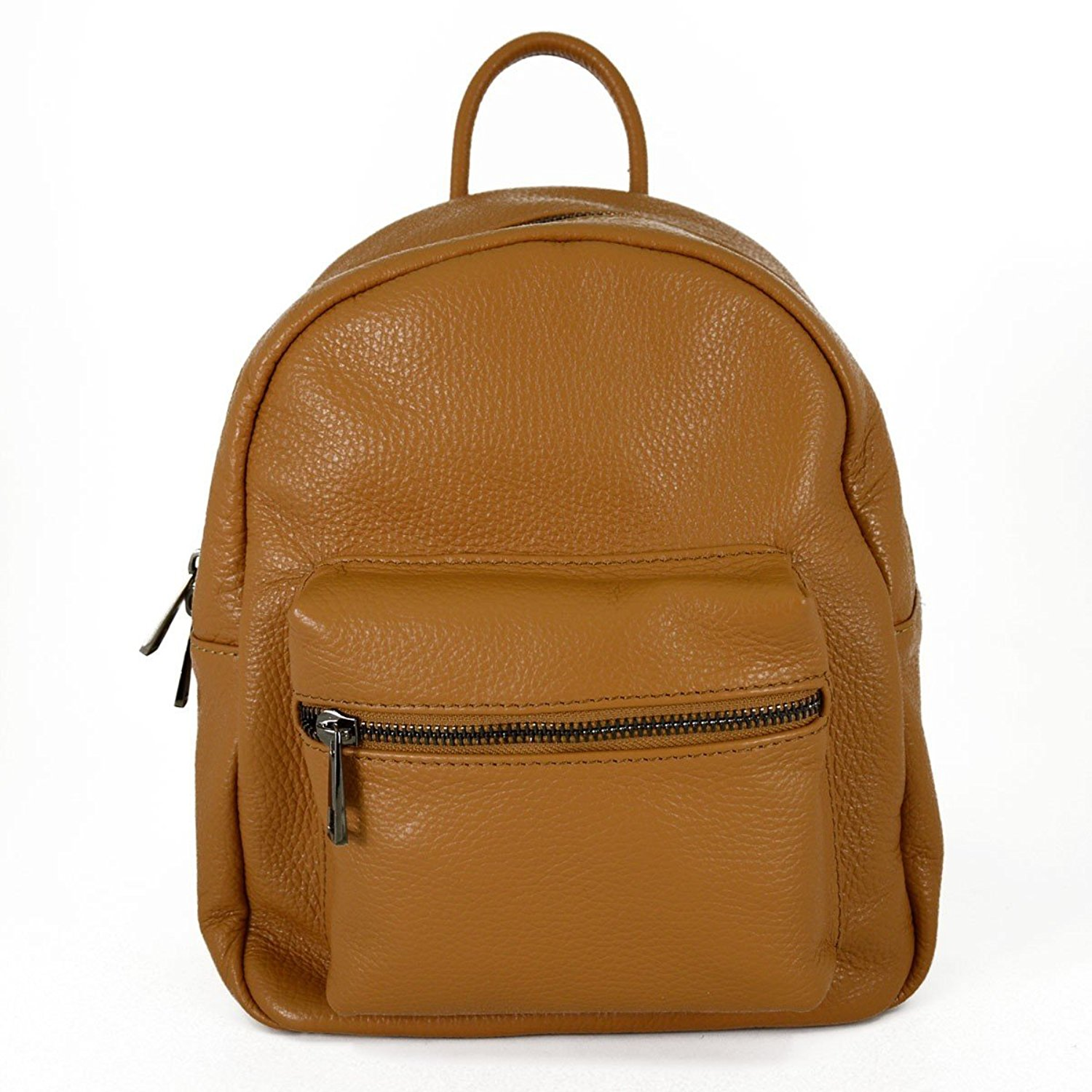 Get Quotations · Genuine Leather Woman Backpack With Front Pocket Color  Cognac f660d593357b8