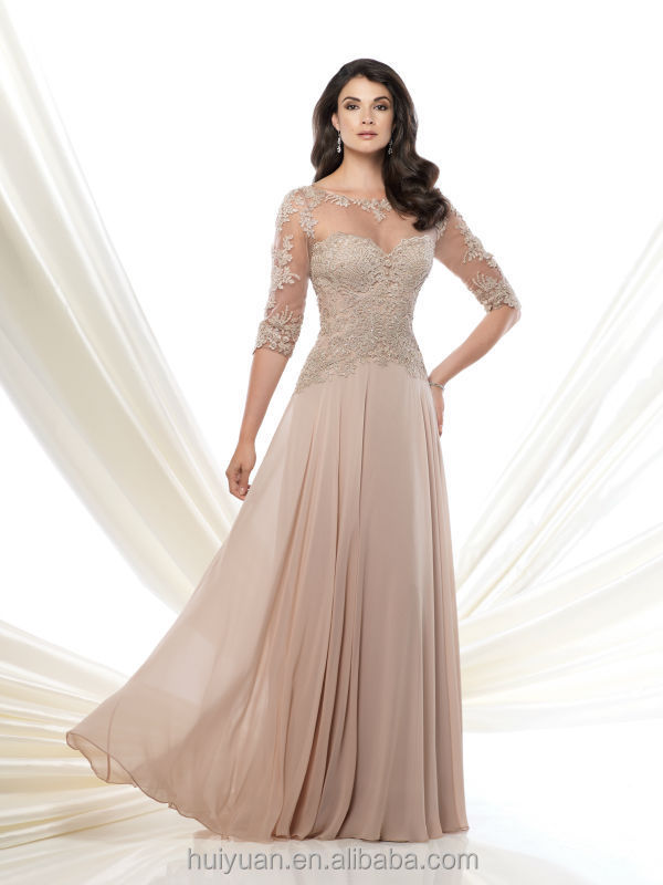 Formal Long Sleeve Chiffon Lace High Neck Ball Gown - Buy Ball ...