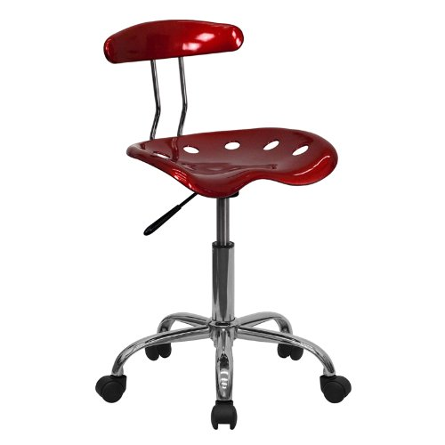 Flash Furniture Vibrant Wine Red and Chrome Swivel Task Chair with Tractor Seat