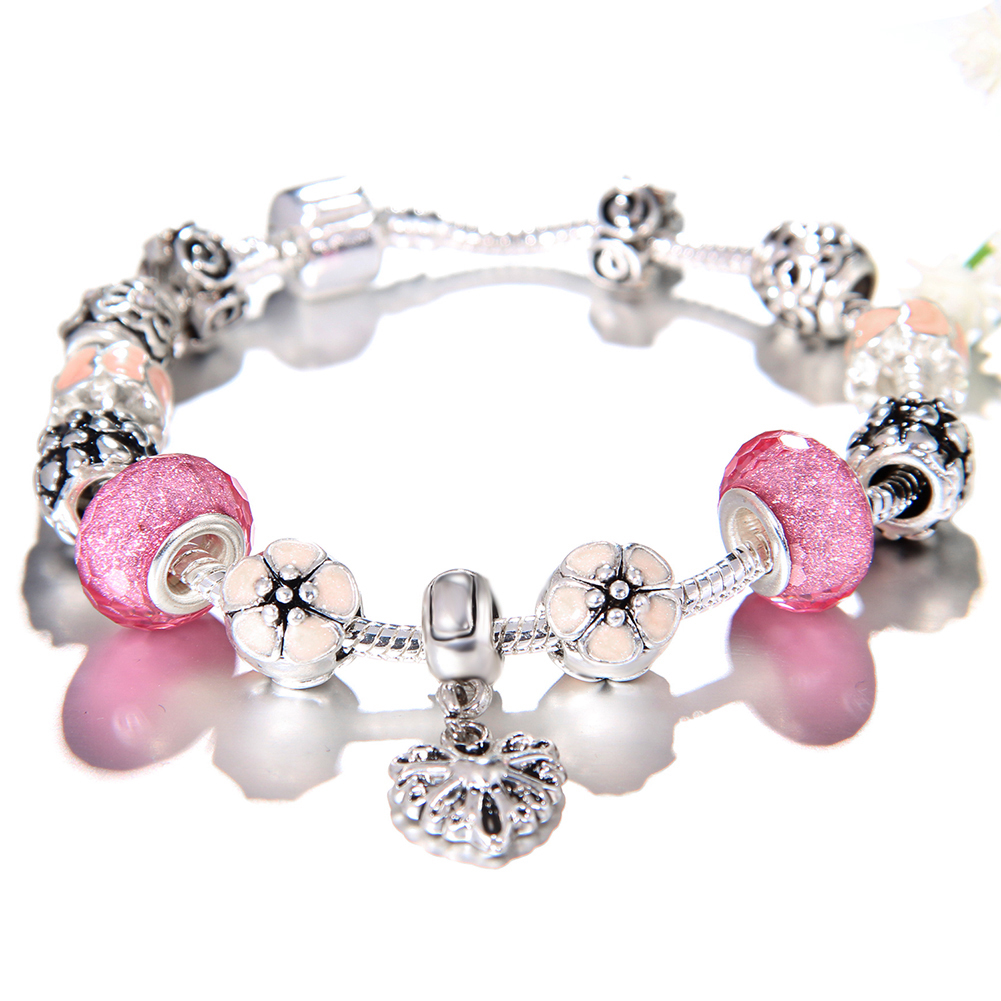 New 2019 Jewelry Women Silver Heart Pulseras Girls DIY Crystal Bead Charm Bracelet Femme