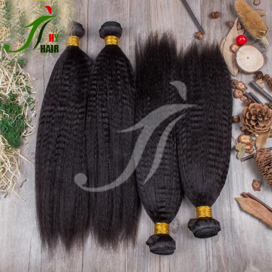 Wholesale Price Double Drawn Yaki Straight Weaving Virgin Human Hair Extension Malaysian Kinky Straight Hair Weave