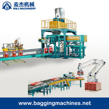 automatic bagging machine with robot palletizer stacking on pallet