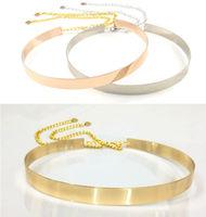 Women Gold/Silver Full Metallic Bling Mirror Plate Waist Metal Chain Belt