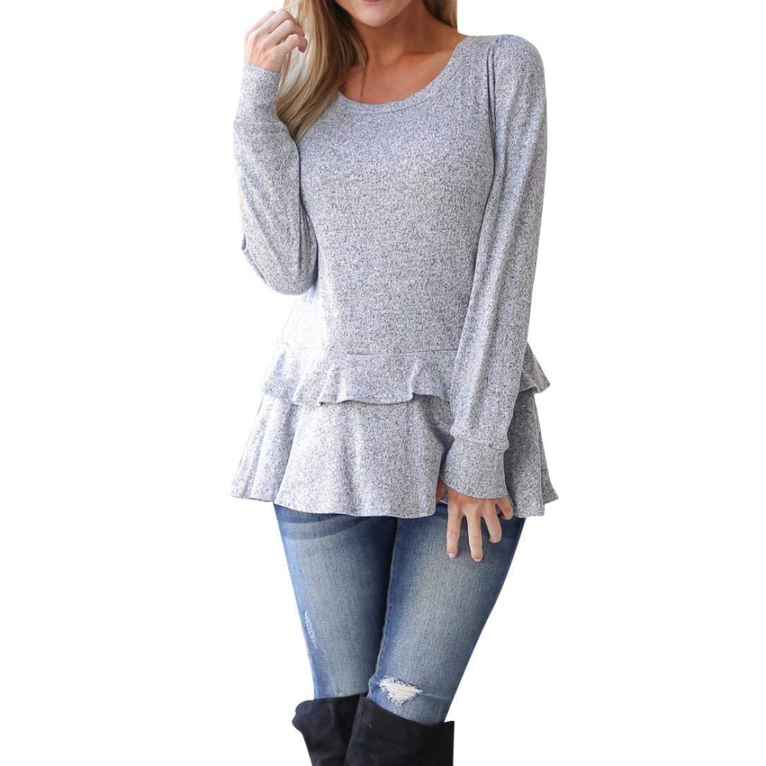 7512f8992e11b2 Women Long Sleeve Tops Daoroka Ladies Ruffle Hem Solid O Neck Autumn Winter