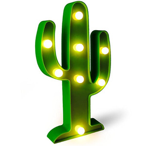 Plastic figurine battery table stand LED artificial ball light cactus