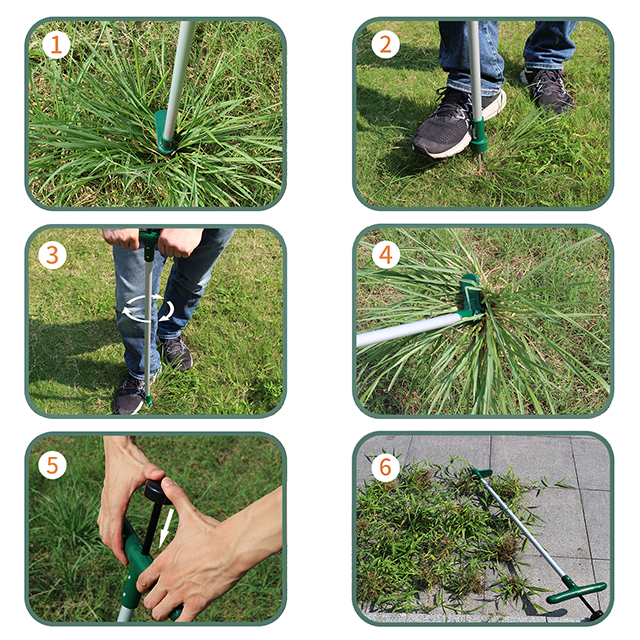 Yardwe Stainless Steel Weed Remover Manual Planting Weeder with Wooden Handle Root Remover Lifter Gardening Tool for Lawn Yard