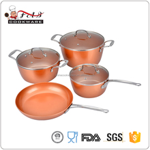 Eco-freindly Aluminum 7pcs Forged-die casting copper ceramic coating cookware set with firm stainless steel