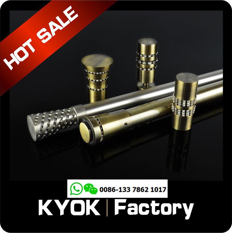 KYOK 28mm electroplated aluminum curtain pole set with brass curtain pole brackets D910
