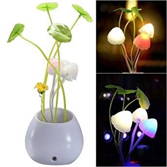 0.5w 3-led Mushroom Potted Plant Light Sensitive Wall Night Light Lamp - White (Ac 110-220v)
