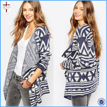 Denim Tribal Kimono Patterned Cardigancardigans For Girls Knitting