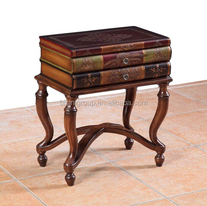 Classic European Old World Style Antique Book Shaped Accent Table,  Handcrafted Brown Side Table Made