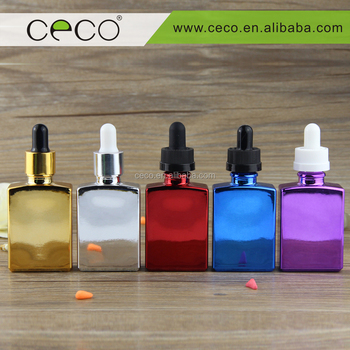 wholesale 30ml electroplate colorful rectangular glass dropper bottle for E-liquid