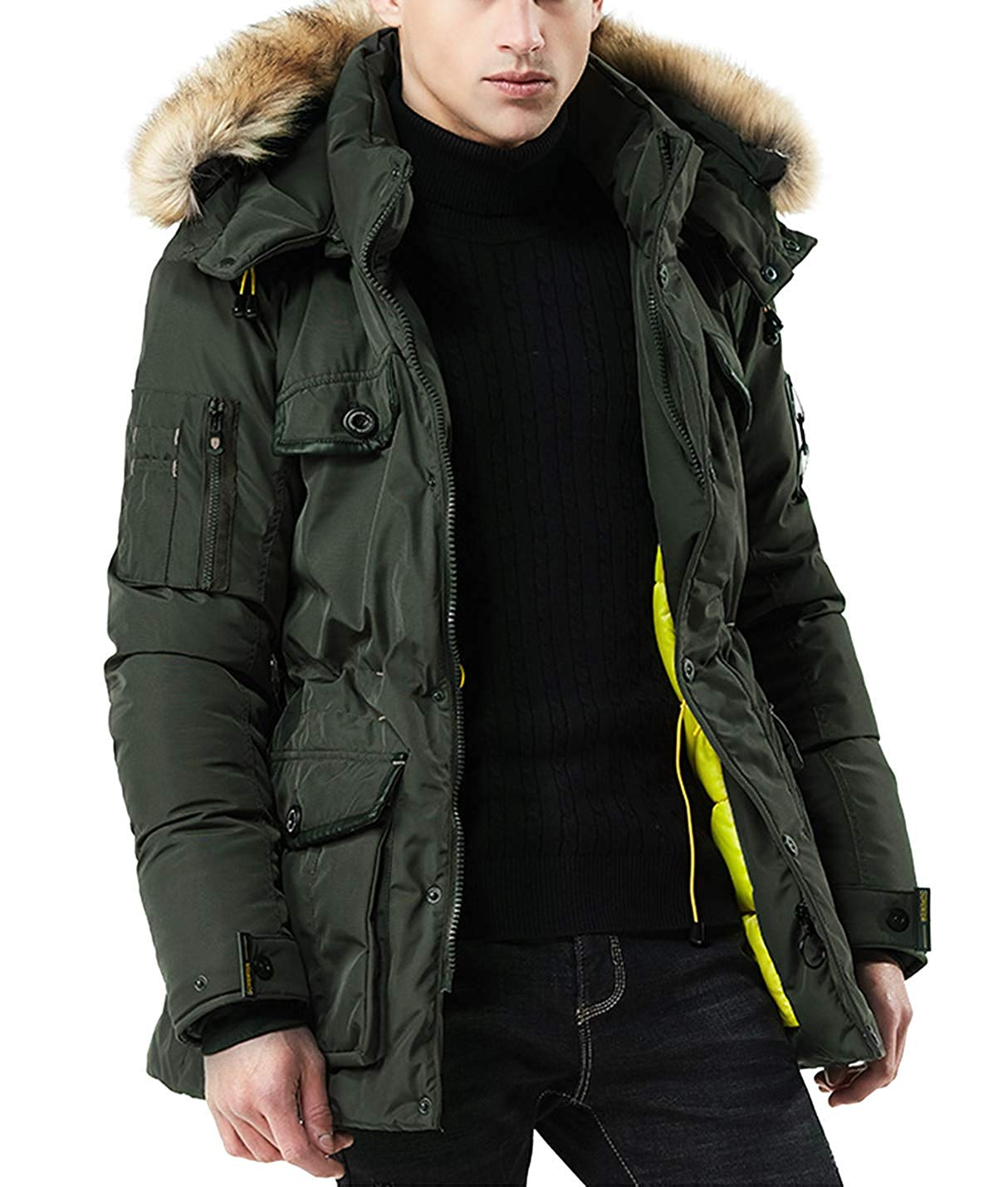 Spirio Mens Winter Warm Thicken Hooded Padded Quilted Long Faux Fur Parka Down Puffer Jacket