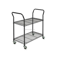 2 tire chrome finish wire shelving Rolling Utility Cart Heavy duty rolling cart for large kitchen garage office storage