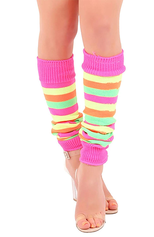 5dc440581e0f Buy Rimi Hanger Womens 80s Fancy Stripe Leg Warmers Ladies Fancy ...