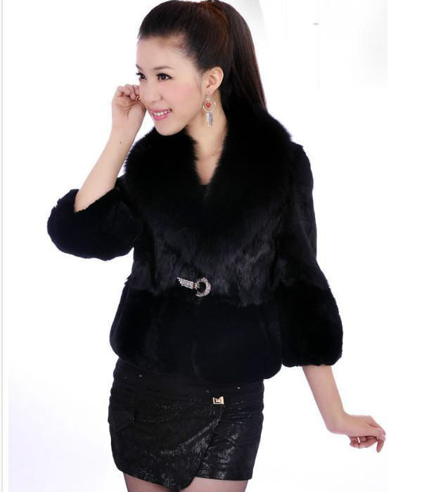 2015 women's faux short design outerwear top fox fur rex rabbit hair thickening fur coat female