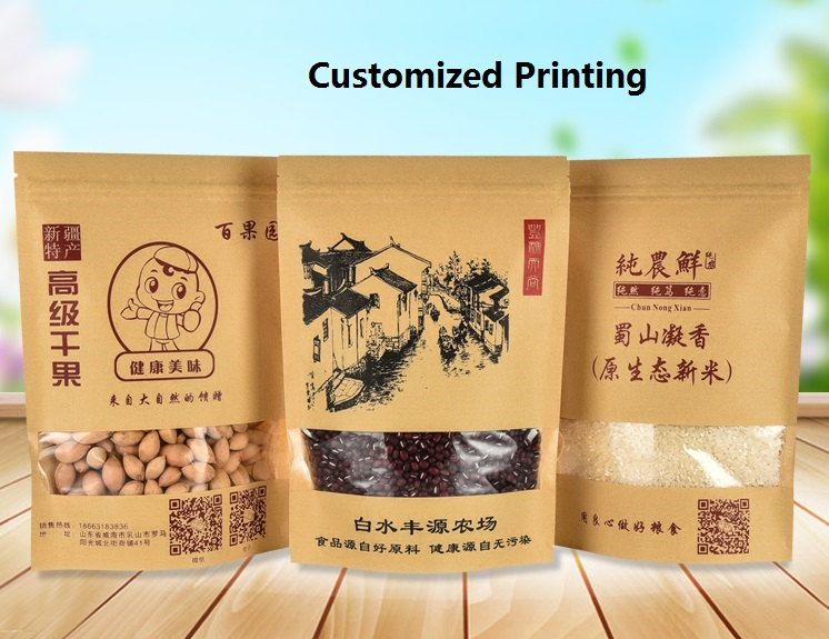 High quality good selling ziplock stand up kraft paper bag OEM