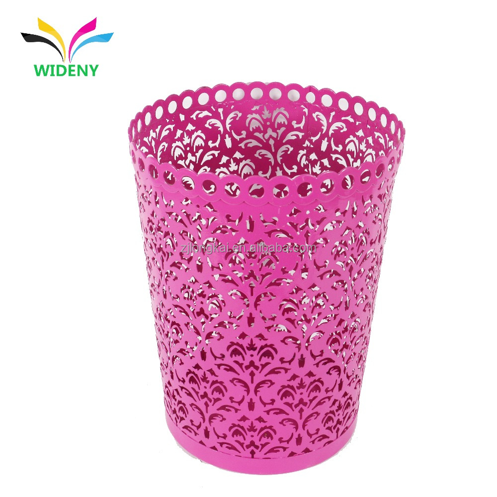 Office accessories purple round metal wire mesh garbage trash bin